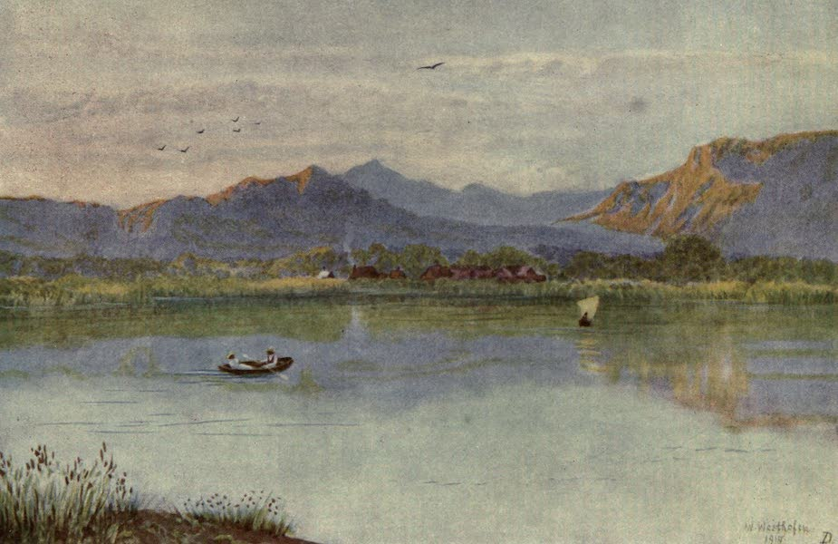 The Cape Peninsula: Pen and Colour Sketches - At Lakeside, looking towards Constantia (1910)