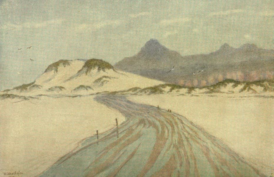 The Cape Peninsula: Pen and Colour Sketches - On Fish Hoek Beach, Nord Hoek Mountains in Distance (1910)