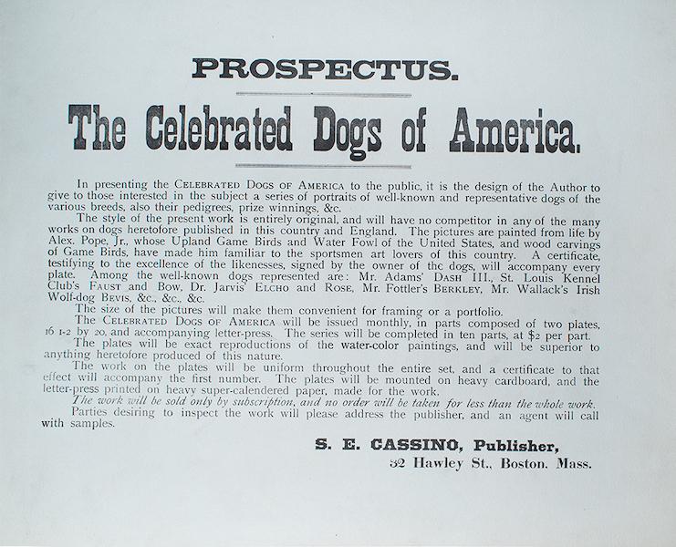 The Celebrated Dogs of America - Prospectus (1879)