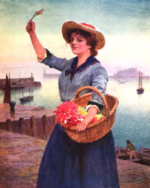 The Channel Islands Painted and Described - Guernsey Flower-Girl (1904)