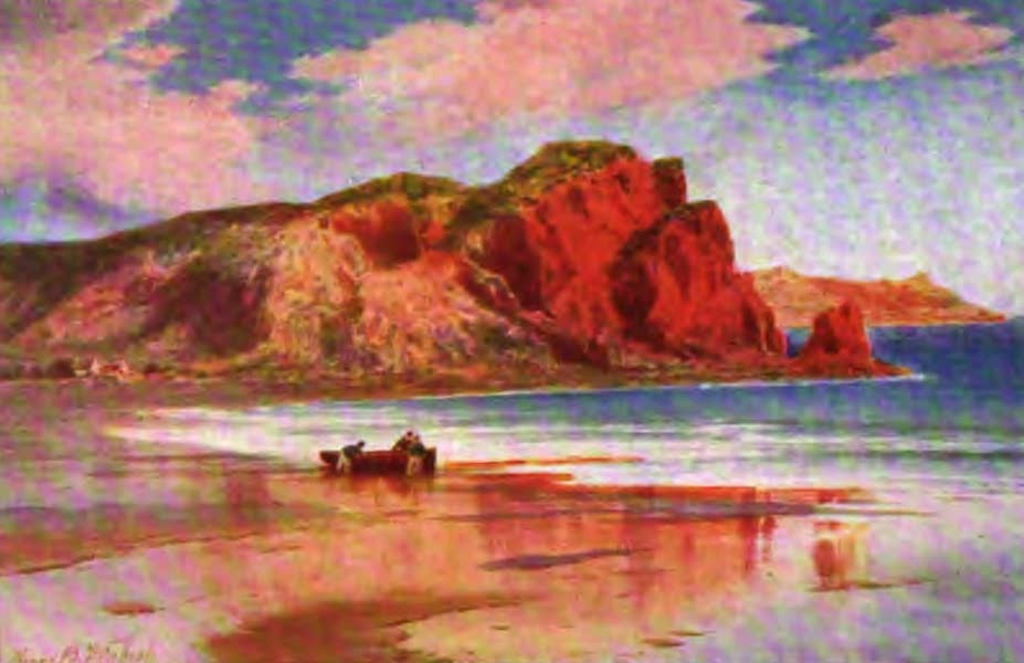 The Channel Islands Painted and Described - La Cotte Point, St. Brelade's Bay, Jersey. (Evening glow) (1904)