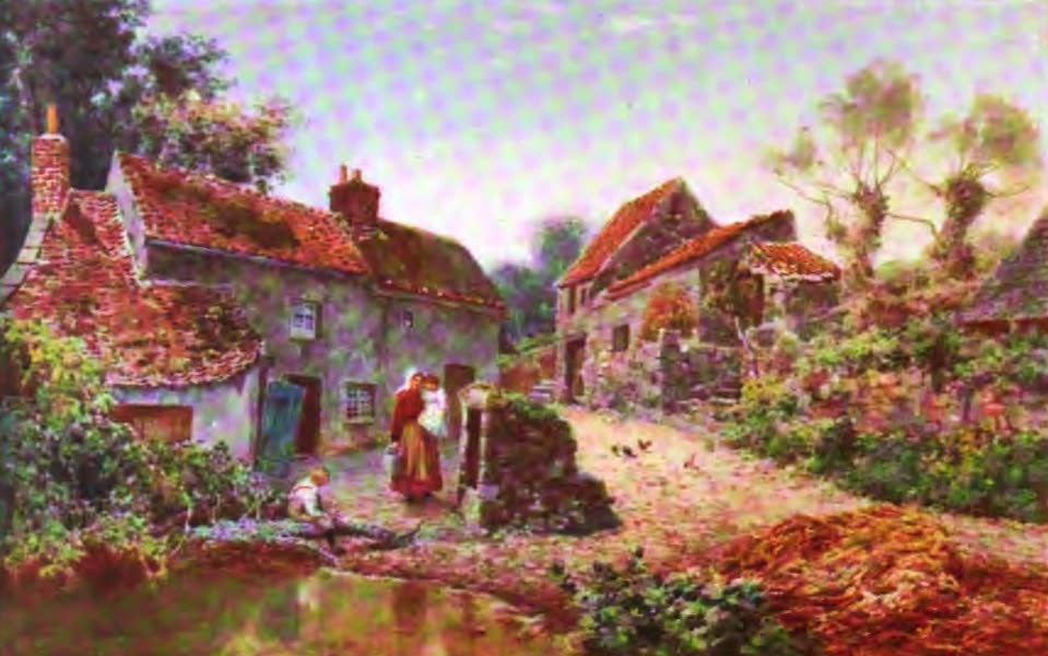 The Channel Islands Painted and Described - A Farmyard, Guernsey (1904)