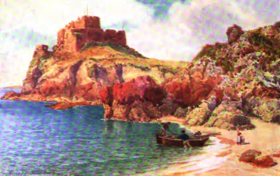 The Channel Islands Painted and Described - Mont Orgueil Castle, Jersey, from Petit Portelet Bay (1904)