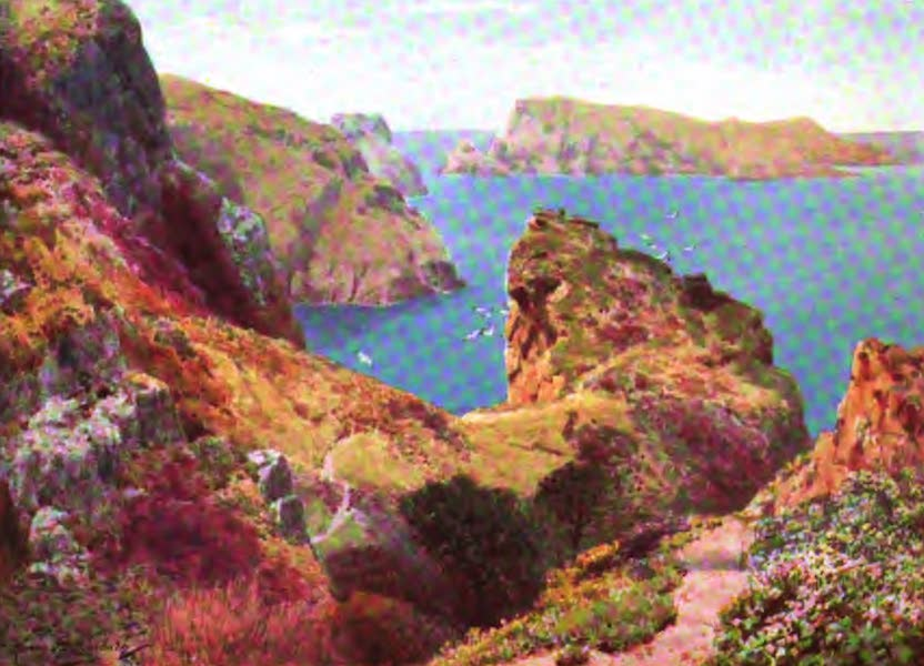The Channel Islands Painted and Described - The Tintageu and lie des Marchands, Sark (1904)