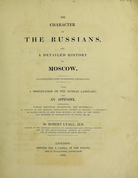 The Character of the Russians and a Detailed History of Moscow - Title Page (1823)