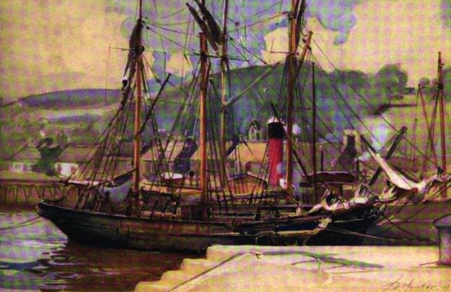 The Clyde River and Firth Painted and Described - Bowling - Irish barques unloading Kelp (1907)