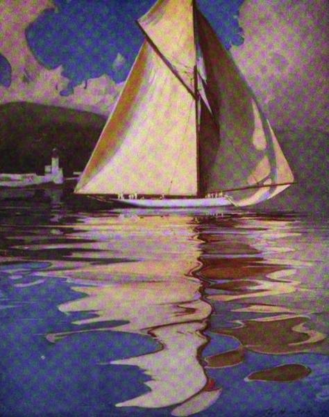 The Clyde River and Firth Painted and Described - Yacht Kariad passing