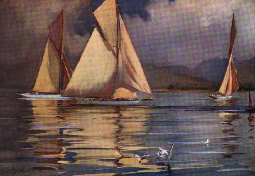 The Clyde River and Firth Painted and Described - R.N.Y.C. Regatta, 1906, Rothesay Bay, Yachts Rosemary, Vagrant, and Tigris (1907)