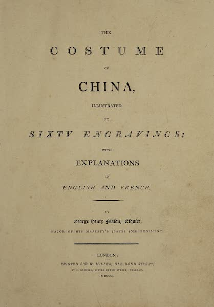 The Costume of China - Title Page (English) (1800)