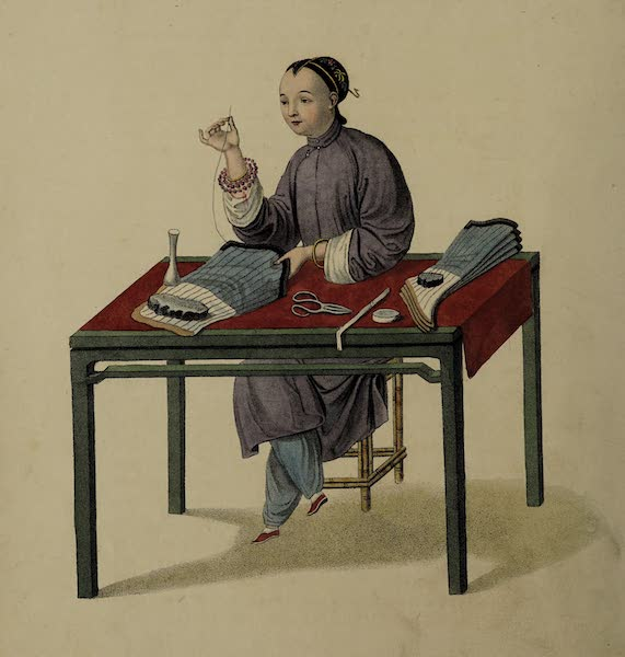 The Costume of China - A Woman making Stockings (1800)