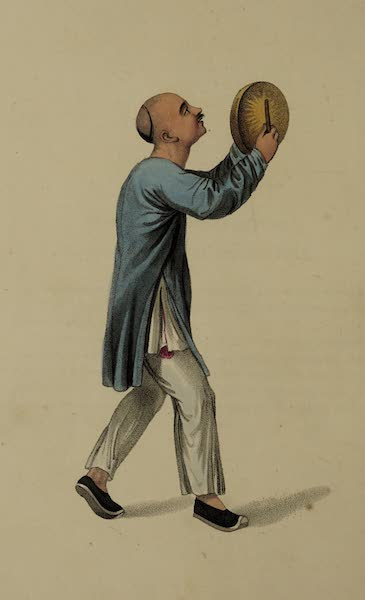The Costume of China - A Man striking a small Gong during an Eclipse (1800)