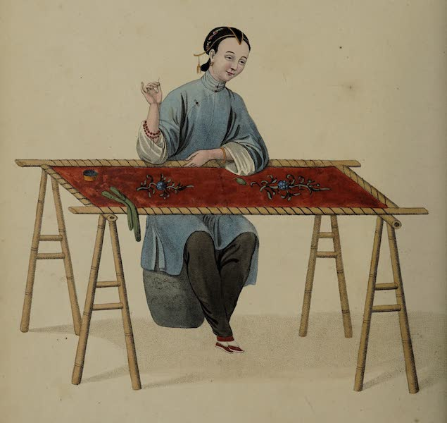 The Costume of China - A Woman embroidering (1800)