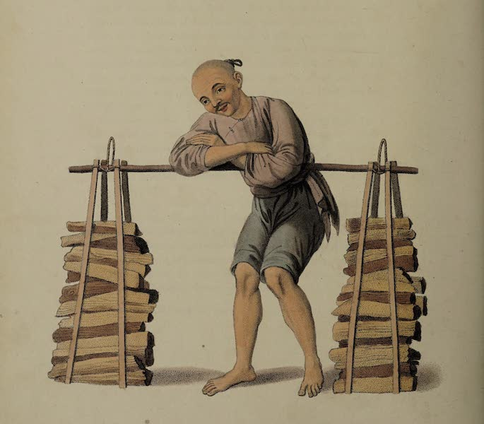 The Costume of China - A Porter with Fire-wood (1800)