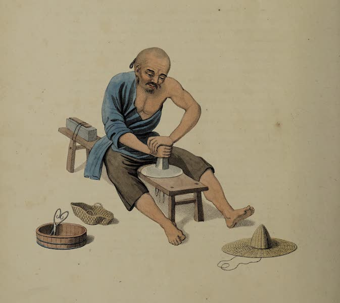 The Costume of China - An Old Man polishing Crystals (1800)