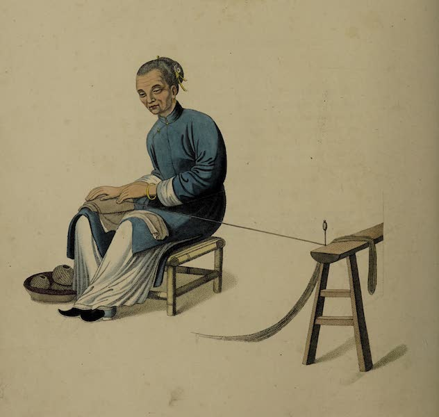 The Costume of China - An Old Woman twilling Cotton (1800)