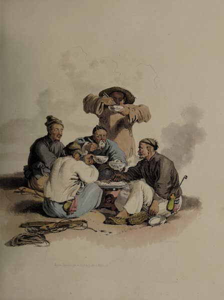 The Costume of China - A Group of Trackers at Dinner (1805)