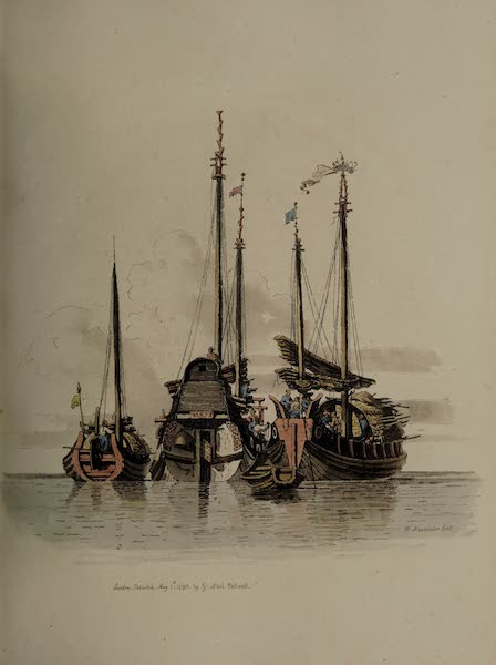 The Costume of China - Three Vessels lying at Anchor at Ning-po (1805)