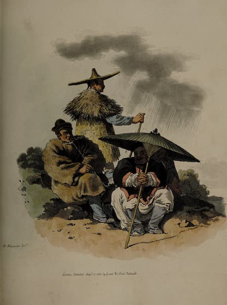 The Costume of China - A Group of Chinese, habited for rainy Weather (1805)