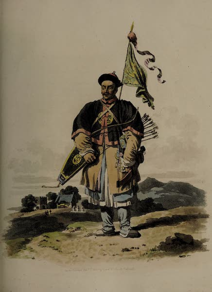 The Costume of China - A Soldier in undress, with a Flag at his Back (1805)