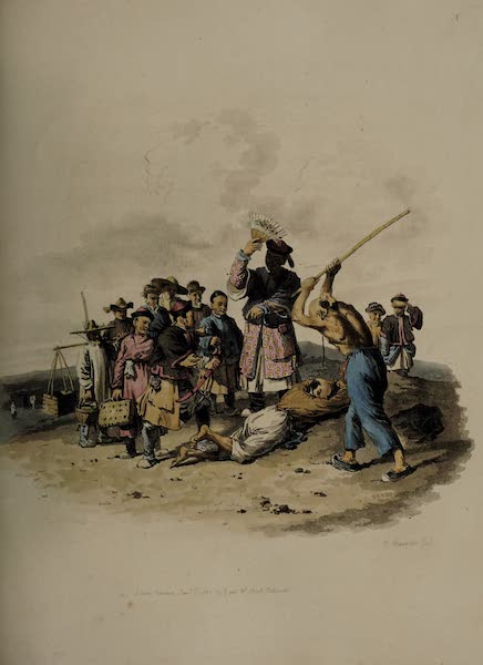 The Costume of China - The Punishment of the Bastinado (1805)
