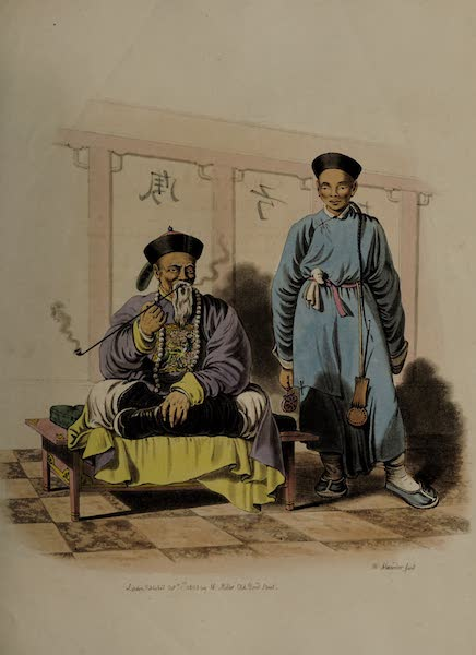 The Costume of China - A Mandarin, attended by a Domestic (1805)