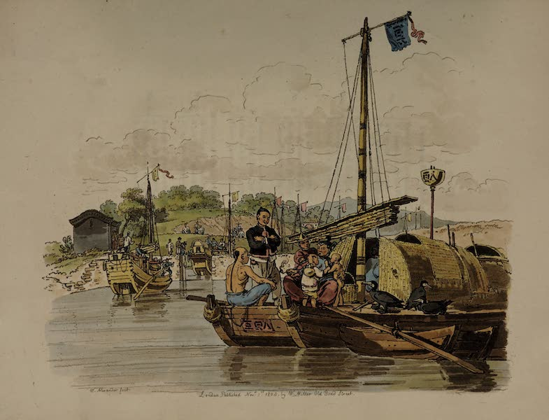 The Costume of China - Fisherman and his Family in a Boat (1805)