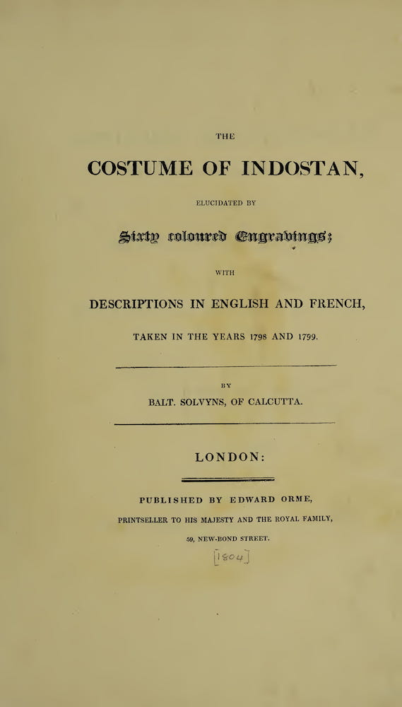 The Costume of Indostan (1804)