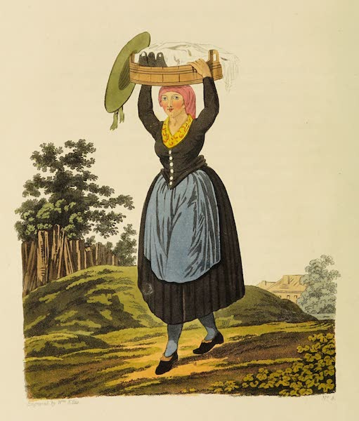 The Costume of the Hereditary States of the House of Austria - A Village Girl of Upper Austria, carrying Milk to Market (1804)