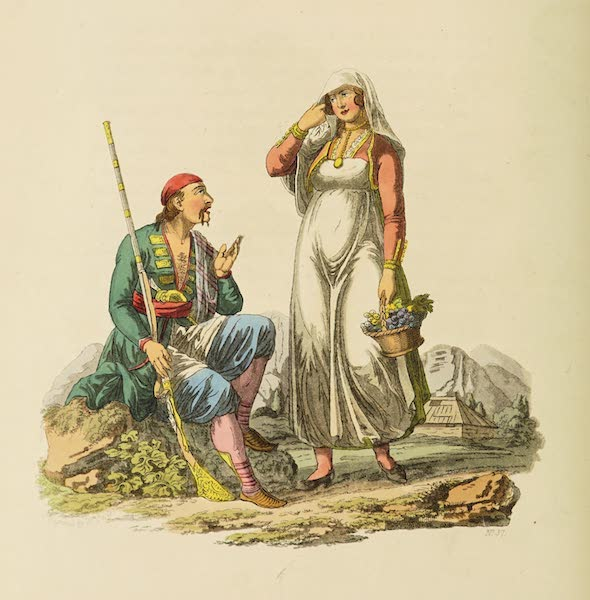 The Costume of the Hereditary States of the House of Austria - A Man and Woman of Risano, in the Country of Cattaro (1804)