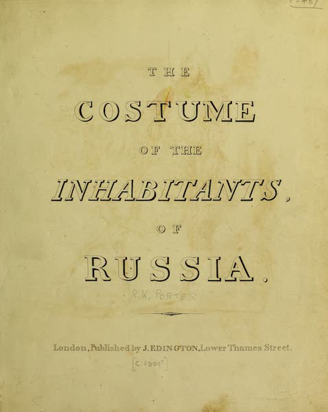 The Costume of the Inhabitants of Russia - Title Page (1809)