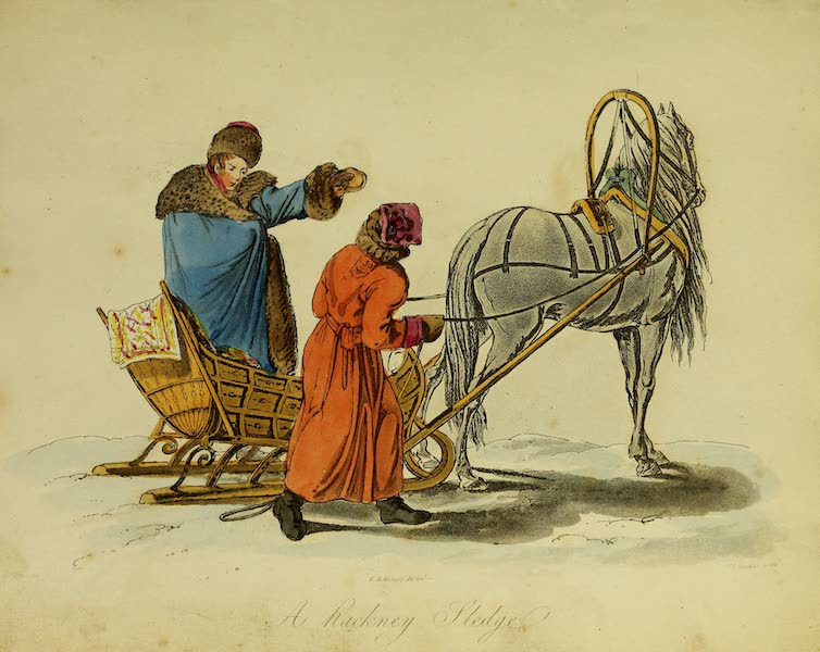The Costume of the Inhabitants of Russia - A Hackney Sledge (1809)