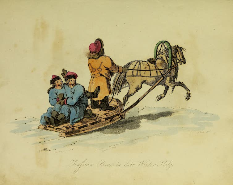 The Costume of the Inhabitants of Russia - Russian Boors in their Winter Sledge (1809)