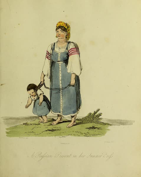 The Costume of the Inhabitants of Russia - A Russian Peasant in her Summer Dress (1809)