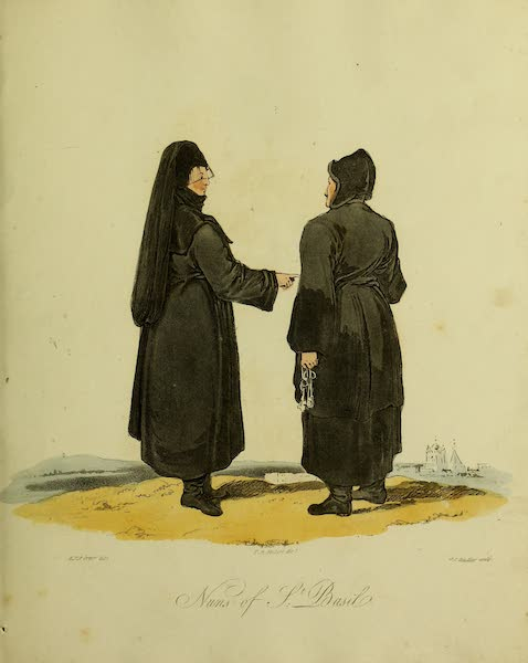 The Costume of the Inhabitants of Russia - Nuns of St. Basil (1809)