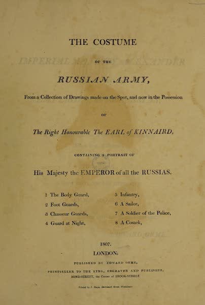The Costume of the Russian Army - Title Page (1807)