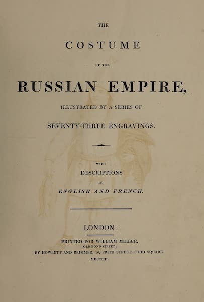 The Costume of the Russian Empire - Title Page - English (1803)