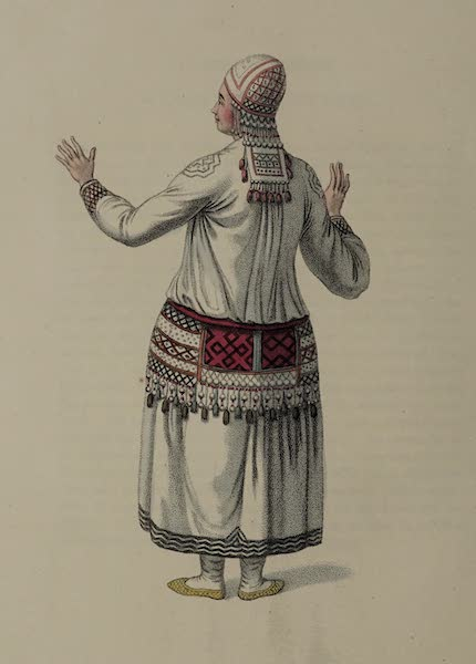 The Costume of the Russian Empire - A Female Mordvine shewing the back part of her dress (1803)