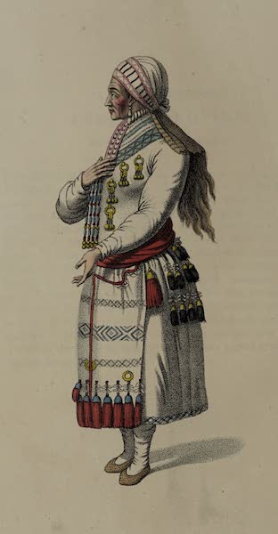The Costume of the Russian Empire - An Old Mordvine Woman of the Mokshan Tribe (1803)