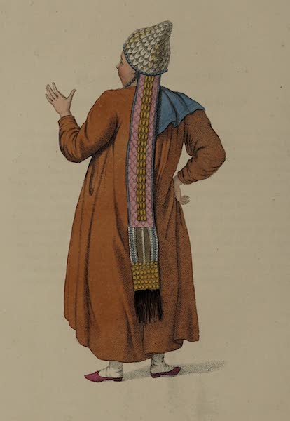 The Costume of the Russian Empire - A Female Tartar of Kazan, shewing the back part of her dress (1803)