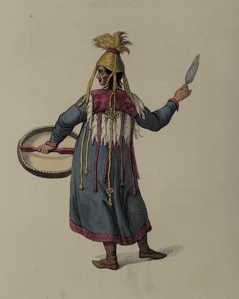 The Costume of the Russian Empire - A Female Schaman, shewing the back part of her dress (1803)