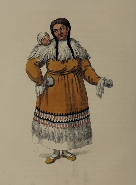 The Costume of the Russian Empire - A Female of Kamtshatka, with her child (1803)