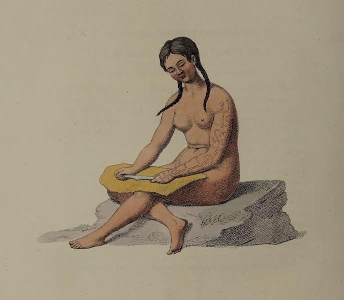 The Costume of the Russian Empire - A Woman of Tschutski, preparing skins (1803)