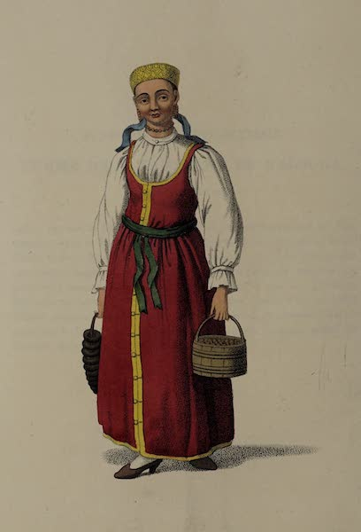 The Costume of the Russian Empire - An Unmarried Female of Waldai (1803)