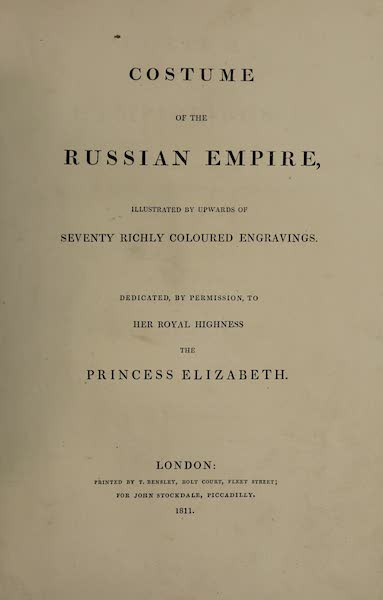 The Costume of the Russian Empire - Title Page (English) (1811)