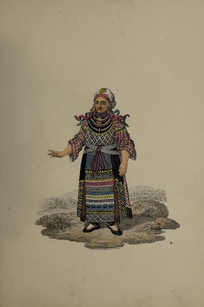 The Costume of the Russian Empire - Back Figure of a Woman of Finland in her Holiday Dress (1811)
