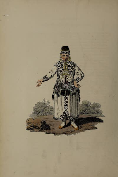 The Costume of the Russian Empire - A Mordvin Woman of the Erzianian Tribe (1811)