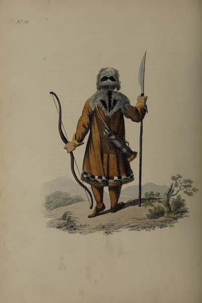 The Costume of the Russian Empire - Back Figure of a Yakut in his Hunting Dress (1811)
