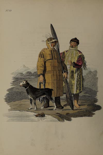 The Costume of the Russian Empire - A Man and Woman of Oonalaschka, one of the Aleutian Islands (1811)