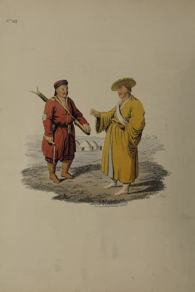 The Costume of the Russian Empire - A Kalmuc, with his Rifle-gun and Whip ; and likewise a Kalmuc Priest, or Gellong (1811)