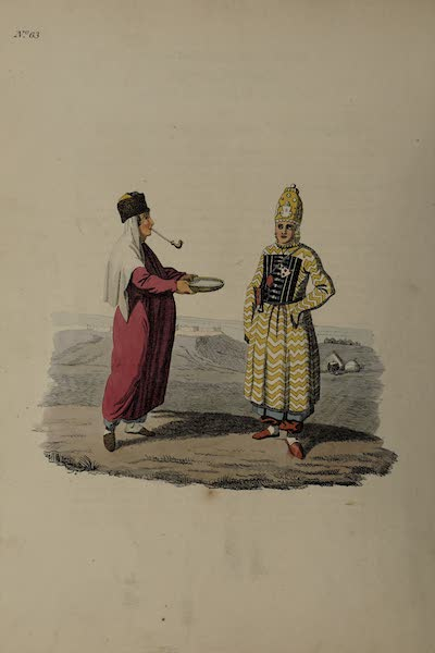 The Costume of the Russian Empire - A Kalmuc Housewife and Girl (1811)